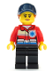 Minifig No: cty1083  Name: Ski Patrol Member - Female, Red Jacket, Dark Blue Cap, Ponytail