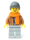 Minifig No: cty1085  Name: Customer - Female, Medium Dark Flesh Jacket, Scarf, Ski Beanie Hat