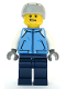 Minifig No: cty1087  Name: Snowboarder - Male, Medium Blue Jacket, Light Bluish Gray Sports Helmet