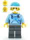 Minifig No: cty1088  Name: Skier - Female, Bright Light Blue Hoodie, Medium Azure Ski Helmet, Ponytail