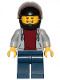 Minifig No: cty1089  Name: Pizza Delivery Guy - Hooded Sweatshirt, Dark Blue Legs, Black Helmet