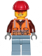 Minifig No: cty1093  Name: Construction Worker (Lumberjack) - Orange Zipper, Safety Stripes and Belt over Brown Shirt, Sand Blue Legs, Red Construction Helmet, Orange Sunglasses