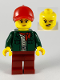 Minifig No: cty1099  Name: Safari Tourist Woman, Red Ballcap and Scarf, Dark Green Jacket, Dark Red Legs
