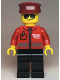 Minifig No: cty1106  Name: Post Office - Airmail Letter Logo and Red Jacket with Zipper, Dark Red Hat, Black Legs, Sunglasses