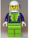 Minifig No: cty1107  Name: Monster Truck Driver, Lime Legs and Jacket with Purple Flames and Arms, White Helmet