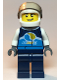 Minifig No: cty1110  Name: Race Car Driver, Male, Dark Blue 'Octan E' Race Jacket and Legs, White Helmet