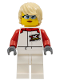 Minifig No: cty1111  Name: Female, White and Red Jumpsuit with 'XTREME' Logo, Tan Tousled Hair, Sunglasses and Closed Mouth Grin