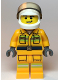 Minifig No: cty1114  Name: Fire - Reflective Stripes, Bright Light Orange Suit, White Helmet, Crooked Grin