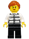 Minifig No: cty1129  Name: Police - Jail Prisoner 50382 Prison Stripes, Female, Black Legs, Scowl with Peach Lips, Orange Ponytail