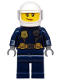 Minifig No: cty1132  Name: Police - ATV Driver Female, Leather Jacket with Gold Badge and Utility Belt, White Helmet, Trans-Clear Visor, Peach Lips Smirk