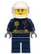 Minifig No: cty1134  Name: Police - City Motorcyclist Female, Leather Jacket with Gold Badge and Utility Belt, White Helmet, Trans-Clear Visor, Peach Lips