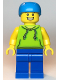 Minifig No: cty1138  Name: Skateboarder - Male, Lime Hoodie, Blue Legs, Dark Azure Helmet