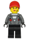 Minifig No: cty1142  Name: Police - Jail Prisoner Jacket over Prison Stripes, Female, Black Legs, Red Cap with Ponytail