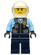 Minifig No: cty1143  Name: Police - City Motorcyclist, Safety Vest with Police Badge, Dark Blue Legs, White Helmet, Trans-Clear Visor