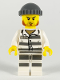 Minifig No: cty1145  Name: Police - Jail Prisoner 86753 Prison Stripes, Dark Bluish Gray Knit Cap, Reddish Brown Beard and Stubble