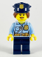 Minifig No: cty1146  Name: Police - City Officer Female, Bright Light Blue Shirt with Badge and Radio, Dark Blue Legs, Dark Blue Police Hat