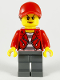 Minifig No: cty1147  Name: Police - City Bandit Crook, Red Jacket, Red Ball Cap with Reddish Brown Ponytail, Dark Bluish Gray Legs