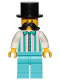 Minifig No: cty1150  Name: Fairground Employee, Male - Black Top Hat, Moustache, White Shirt with Stripes, Medium Azure Legs