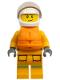 Minifig No: cty1157  Name: Fire - Reflective Stripes, Bright Light Orange Suit, Life Jacket, White Helmet