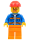 Minifig No: cty1161  Name: Blue Jacket with Diagonal Lower Pockets and Orange Stripes, Orange Legs, Red Construction Helmet