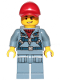 Minifig No: cty1163  Name: Ocean Mini-Submarine Pilot  - Male, Harness, Sand Blue Legs with Pockets, Red Cap, Lopsided Grin