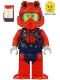 Minifig No: cty1165  Name: Scuba Diver - Female, Open Mouth, Red Helmet, White Airtanks, Red Flippers
