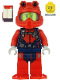 Minifig No: cty1166  Name: Scuba Diver - Male, Smirk, Red Helmet, White Airtanks, Red Flippers