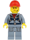 Minifig No: cty1168  Name: Ocean Submarine Pilot - Male, Harness, Sand Blue Legs with Pockets, Red Cap, Headset