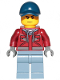 Minifig No: cty1172  Name: Explorer - Male, Dark Red Hooded Sweatshirt, Dark Blue Cap, Frown, Sweat Drops