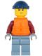Minifig No: cty1175  Name: Explorer - Male, Dark Red Hooded Sweatshirt, Sand Blue Legs, Dark Blue Knit Cap