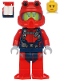 Minifig No: cty1179  Name: Scuba Diver - Female, Peach Lips Smile, Red Helmet, White Airtanks, Red Flippers
