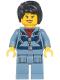 Minifig No: cty1181  Name: Ocean Mini-Submarine Pilot - Female, Harness, Sand Blue Legs with Pockets, Black Hair