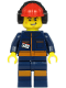Minifig No: cty1183  Name: Airport Flagman - Male, Red Helmet with Earmuffs, Dark Blue Jumpsuit with Orange Stripes