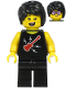 Minifig No: cty1188  Name: Plane Passenger - Female, Black Hair, Black Sleeveless Top with Red Guitar, Black Legs