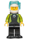 Minifig No: cty1191  Name: Diver - Male, Black Wetsuit with White Logo and Lime Trim and Flippers, White Helmet and Airtanks