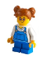 Minifig No: cty1226  Name: Girl - Blue Overalls over V-Neck Shirt, Dark Orange Hair Short, Parted with Two Pigtails, Red Glasses