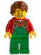 Minifig No: cty1227  Name: Farmer - Overalls Green, Red Plaid Shirt, Reddish Brown Hair Swept Back Tousled