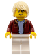 Minifig No: cty1236  Name: Car Driver - Male, Dark Red Jacket with Light Bluish Gray Shirt, White Legs, Tan Tousled Hair