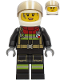Minifig No: cty1240  Name: Fire - Female, Black Jacket and Legs with Reflective Stripes and Dark Red Collar, White Helmet, Trans-Black Visor