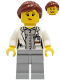 Minifig No: cty1252  Name: Fire - Female, White Open Jacket over Shirt, Light Bluish Gray Legs, Reddish Brown Hair