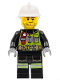 Minifig No: cty1255  Name: Fire - Reflective Stripes with Utility Belt and Flashlight, White Fire Helmet, Beard Stubble, Brown Eyebrows