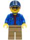 Minifig No: cty1265  Name: Ground Crew - Female, Blue Jacket over Dark Red V-Neck Sweater, Dark Tan Legs, Dark Blue Cap with Dark Orange Ponytail