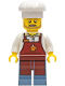 Minifig No: cty1268  Name: Baker - Male, Reddish Brown Apron with Cup and Name Tag, White Cook's Hat