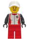 Minifig No: cty1269  Name: Woman - Red and White Race Jacket, Red Legs, White Cap with Bright Light Yellow Hair