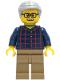 Minifig No: cty1270  Name: Man - Dark Blue Plaid Button Shirt, Dark Tan Legs, Light Bluish Gray Hair