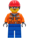 Minifig No: cty1272  Name: Construction Worker - Female, Chest Pocket Zippers, Belt over Dark Gray Hoodie, Blue Legs, Red Helmet with Dark Brown Hair