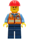 Minifig No: cty1281  Name: Construction Worker - Orange Safety Vest with Reflective Stripes, Dark Blue Legs, Red Construction Helmet