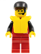 Minifig No: div007  Name: Divers - Control 1, Red Legs, Black Cap, Life Jacket
