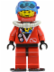 Minifig No: div017b  Name: Divers - Red Diver 1, Red Legs with Black Hips, Red Helmet, Light Gray Scuba Tank, Flippers