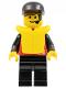 Minifig No: div022  Name: Divers - Control 1, Black Legs, Black Cap, Life Jacket